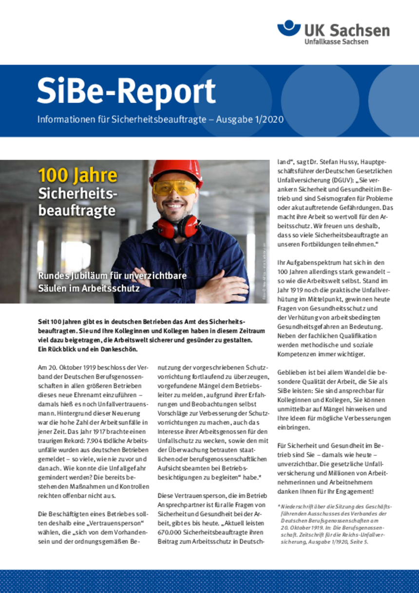 Titel vom SibeReport   Ausgabe 01/2020