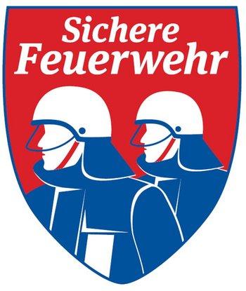 """Logo zum Zertifikat """"Sichere Feuerwehr"""", 2 stilisierte Feuerwehrleute vor rotem Hintergrund"""