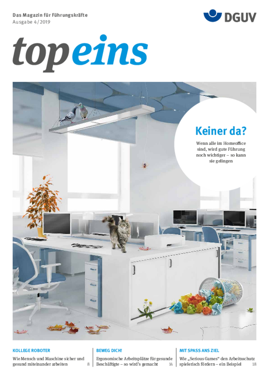 Titel vom topeins - Magazin für Führungskräfte | Ausgabe 04/2019